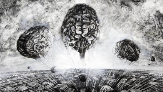 13 GIAMPIETRO  Fuga di cervelli 2013 cm. 100 x 70 olio su tela