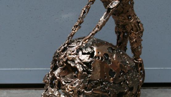 14 GOLDANIGA Teschio bronzo cm. 40x30x20