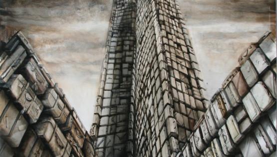 15 GIAMPIETRO Grattacielo 2011  cm. 130 x130 olio su tela