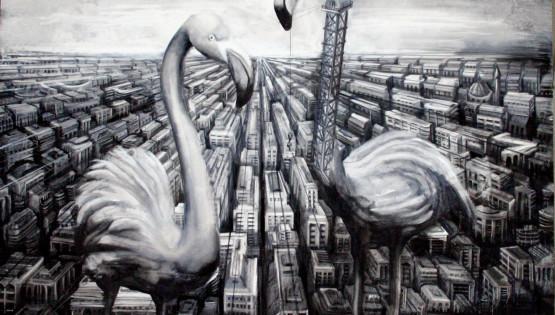 18 GIAMPIETRO Gru Milano 2010 cm. 150×150 olio su tela