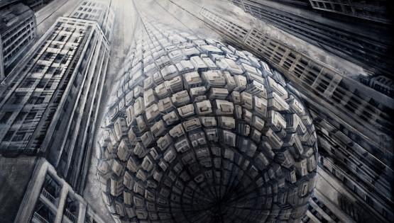 19 GIAMPIETRO Metromorfosi-Goccia 2010 cm. 200×150 olio su tela