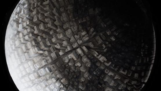 21 GIAMPIETRO Metromorfosi-Luna 2010 diam. cm. 150. olio su tela