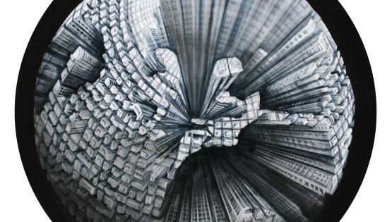 22 GIAMPIETRO  Mondo 2010 diam cm. 100 olio su tela