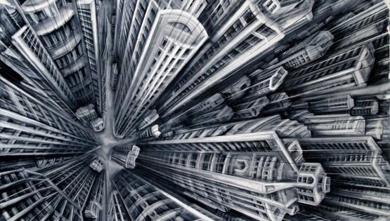 27 GIAMPIETRO  Vertigo 2009 cm. 100×150 olio su tela