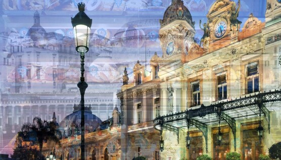 Napoli-Montecarlo (Il Casinò e il Plebiscito) cm.100×150