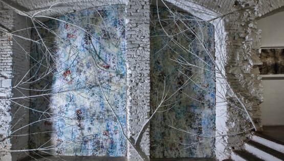 """""""Nord45 Est9″ ombra su tavola dipinta cm. 500×400"""