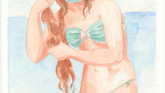 La Venere della mascherina 2020 acquerello e grafite su carta cm. 30,3×22,7