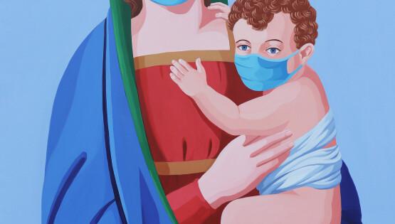 La Madonna della sanificazione 2020 acrilico su tela cm. 110×80
