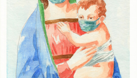 La Madonna della sanificazione 2020 acquerello e grafite su carta cm. 30,3×22,7